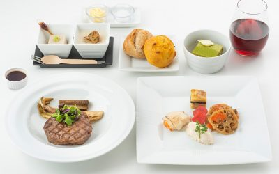 IN FIRST E BUSINESS CLASS CON JAPAN AIRLINES